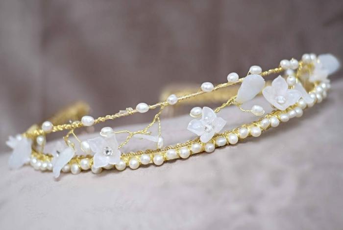 diy diadème mariage fil doré perles strass