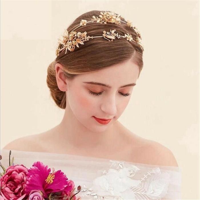 diy diadème mariage fleurs décoratives dorées