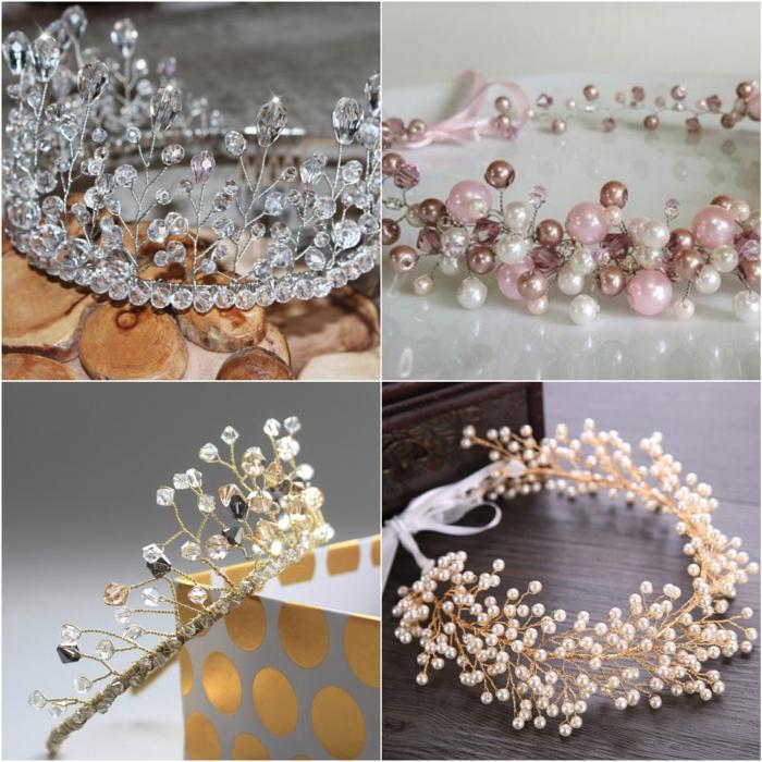 diy diadème mariage modèles avec perles et strass