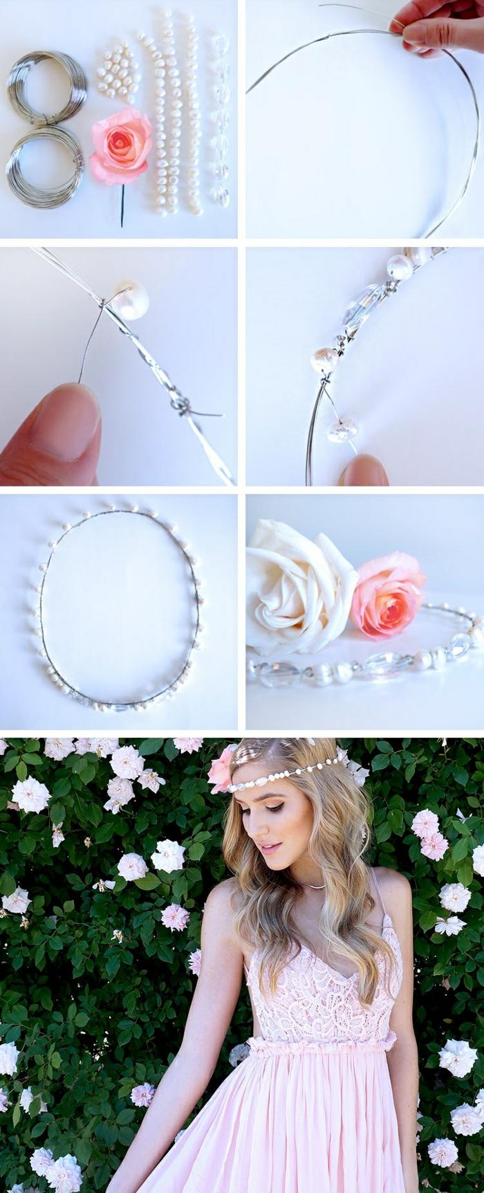 diy diadème mariage perles fil métallique rose