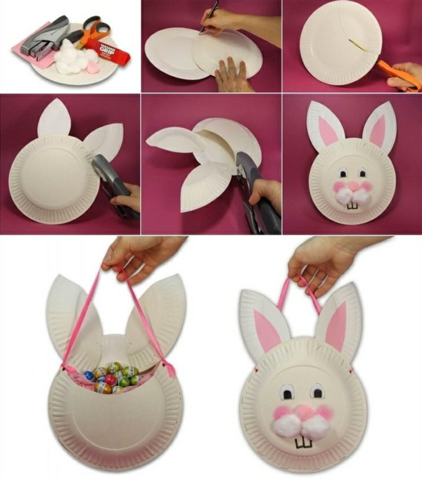 diy lapin de pâques assiettte plastique