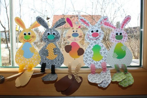 diy lapin de pâques déco fenêtre pour pâques