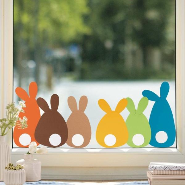 diy lapin en papier coloré déco fenêtre pour pâques