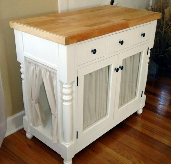 diy meuble cache litière ancienne armoire avec rideaux