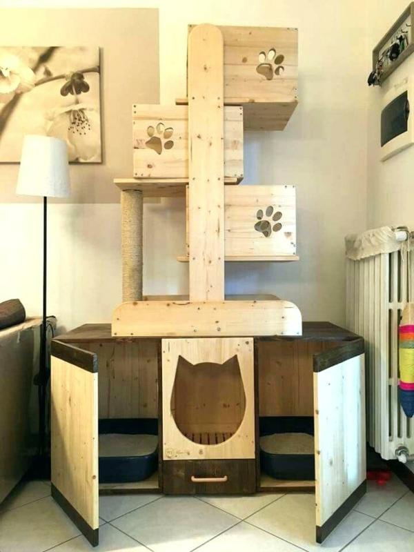 diy meuble cache litière arbre à chat