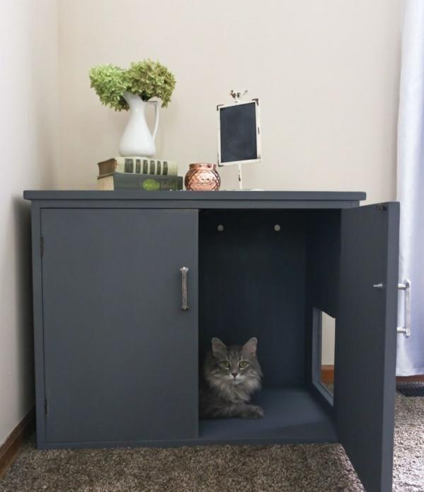diy meuble cache litière armoire avec trou salon