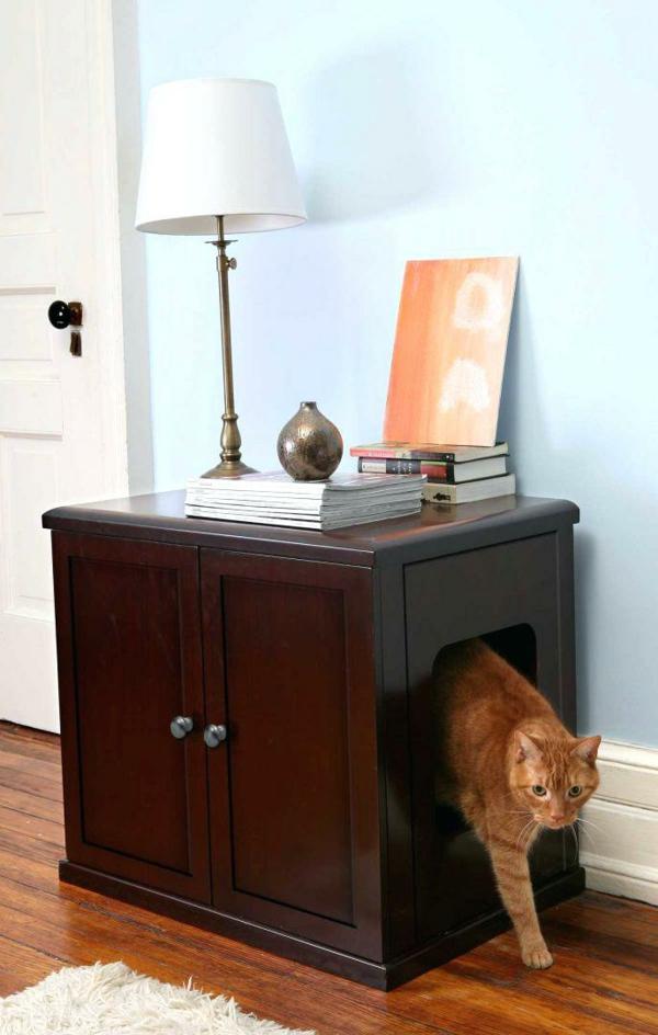 diy meuble cache litière armoire en bois foncé deux portes