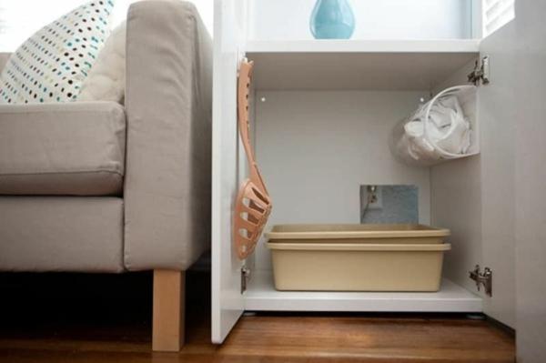 diy meuble cache litière discret salon