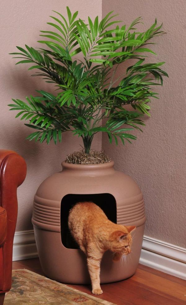 diy meuble cache litière imitation pot de plante