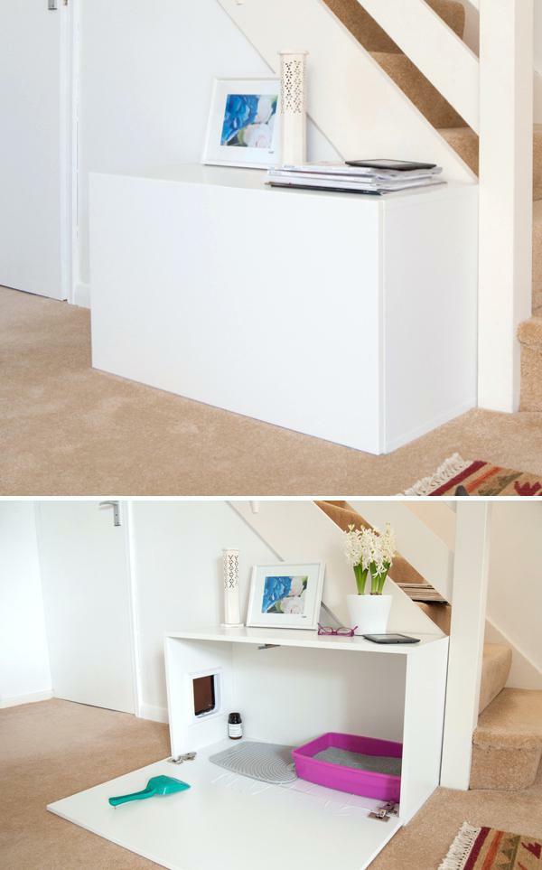 diy meuble cache litière sous escalier