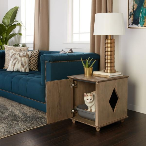 diy meuble cache litière table d'appoint salon
