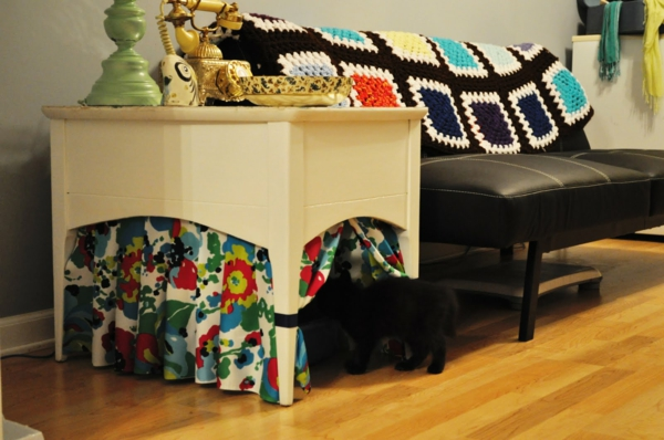 diy meuble cache litière table de rangement
