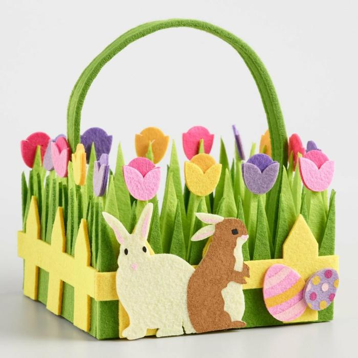 diy panier de Pâques avec des lapins