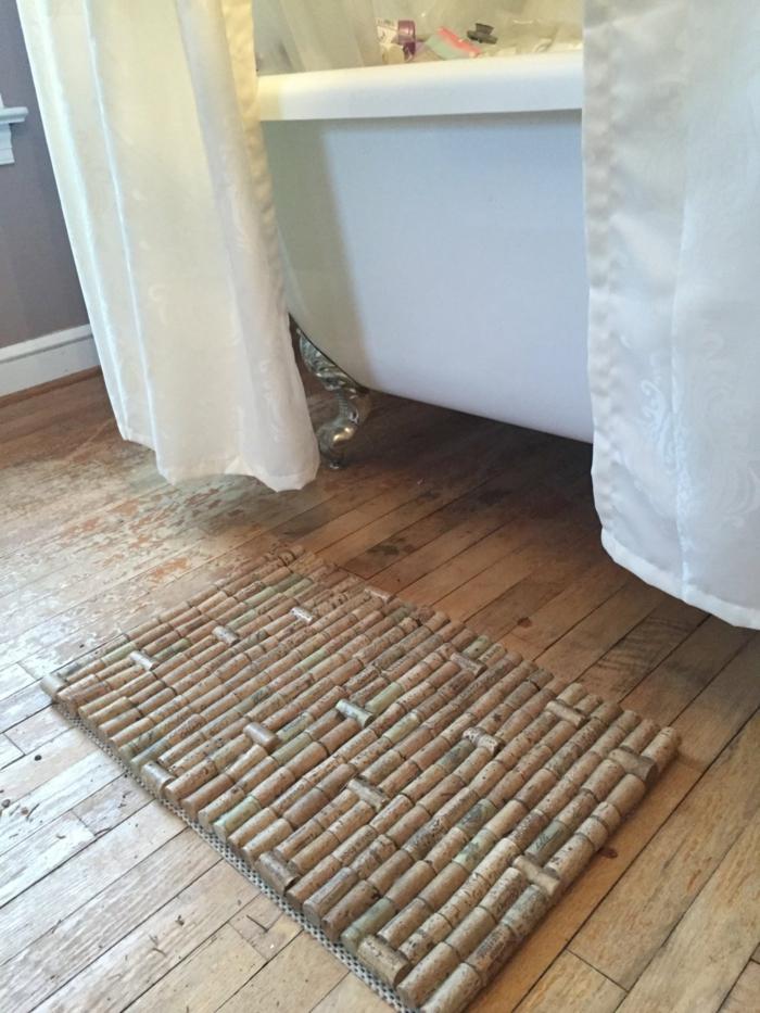 diy tapis à partir de bouchon de liège
