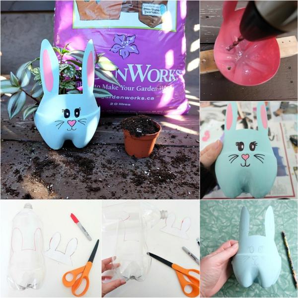 fabriquer lapin de pâques en bouteille plastique