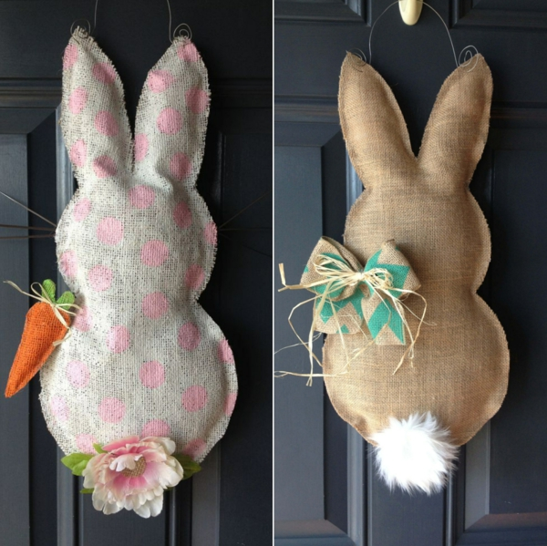 fabriquer un lapin de Pâques en toile de jute
