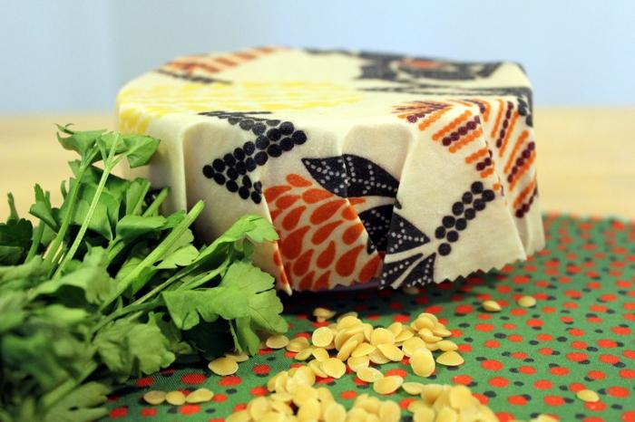 film alimentaire lavable cire d'abeille et tissu en coton