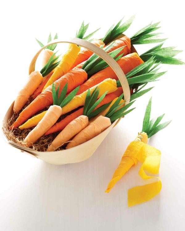 idée activité manuelle pâques diy carottes en papier crépon