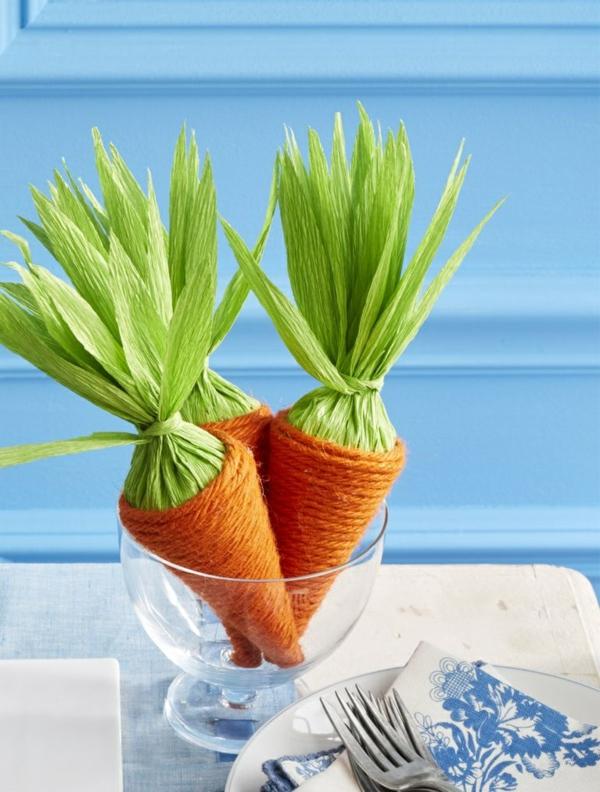 idée activité manuelle pâques diy carottes papier crépon corde