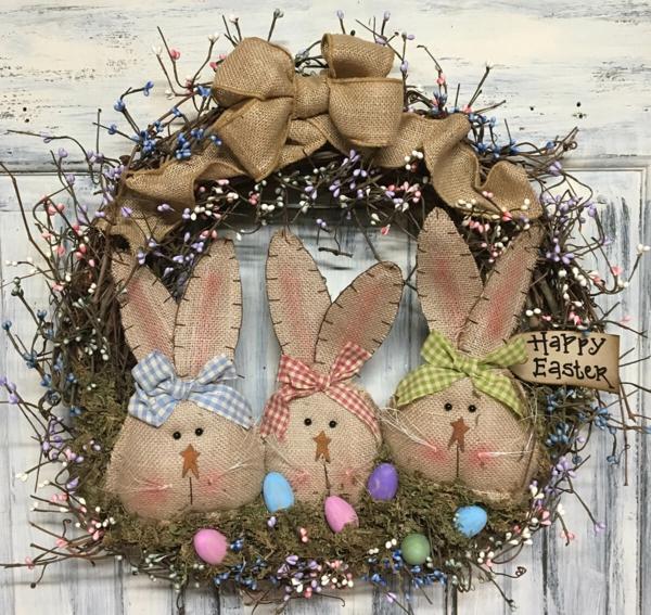 idée activité manuelle pâques diy couronne avec lapins