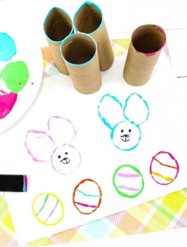 idée activité manuelle pâques diy dessins créatifs avec rouleau papier toilette