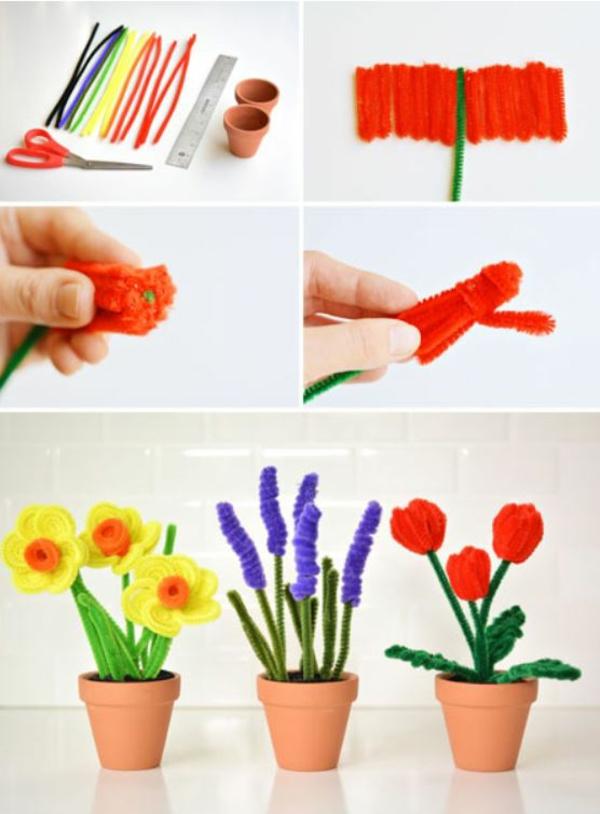 idée activité manuelle pâques diy fleurs en nettoyeurs de tuyaux artisanat