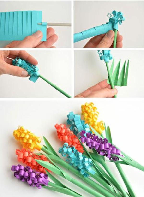 idée activité manuelle pâques diy fleurs jacinthes en papier