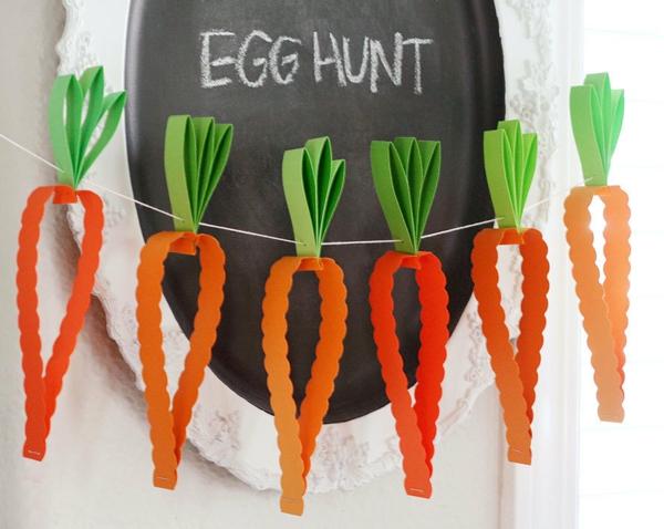 idée activité manuelle pâques diy guirlande carottes en carton