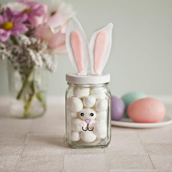 idée activité manuelle pâques diy lapin bocal de verre
