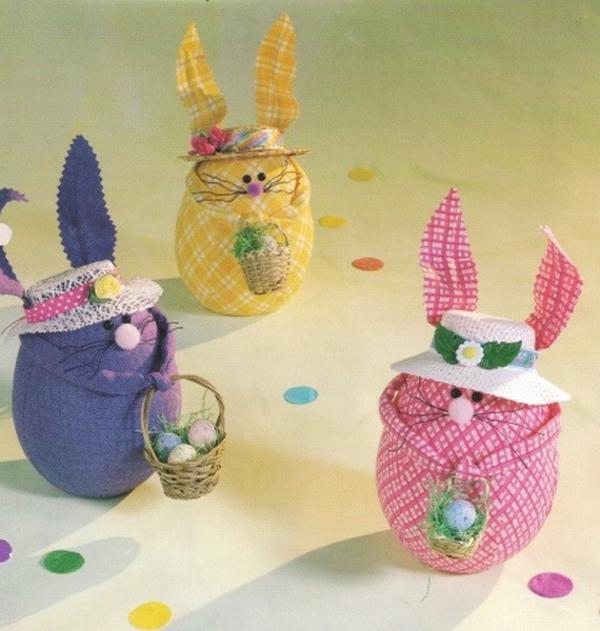 idée activité manuelle pâques diy lapins en textile et ouate