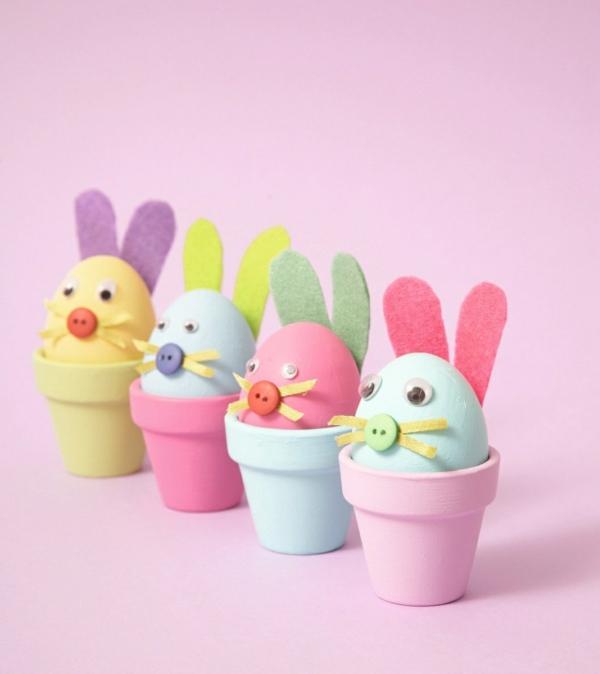 idée activité manuelle pâques diy oeufs animaux en pots