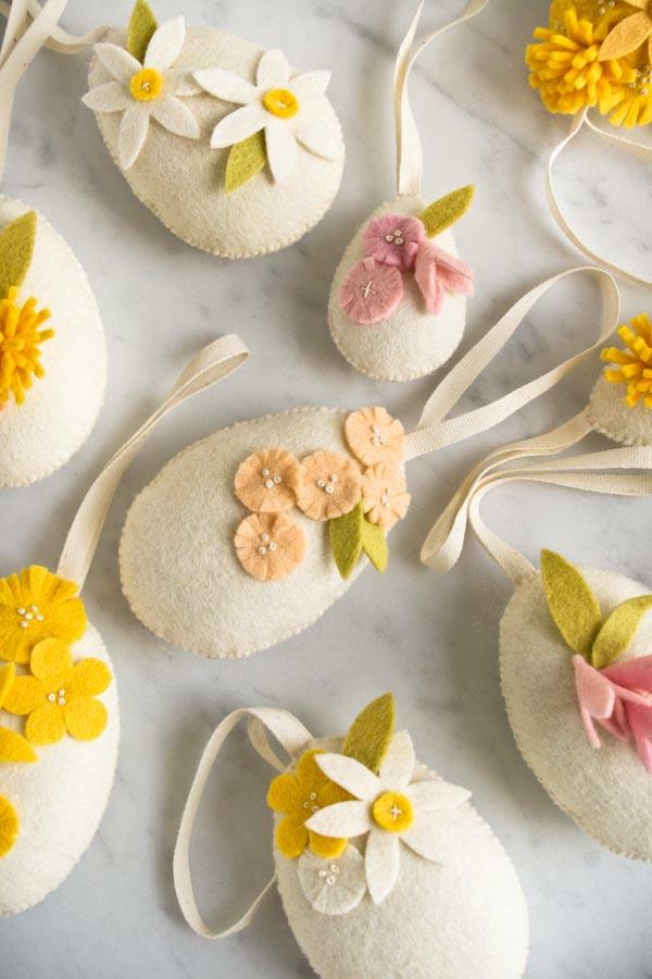 idée activité manuelle pâques diy oeufs en feutrine crème