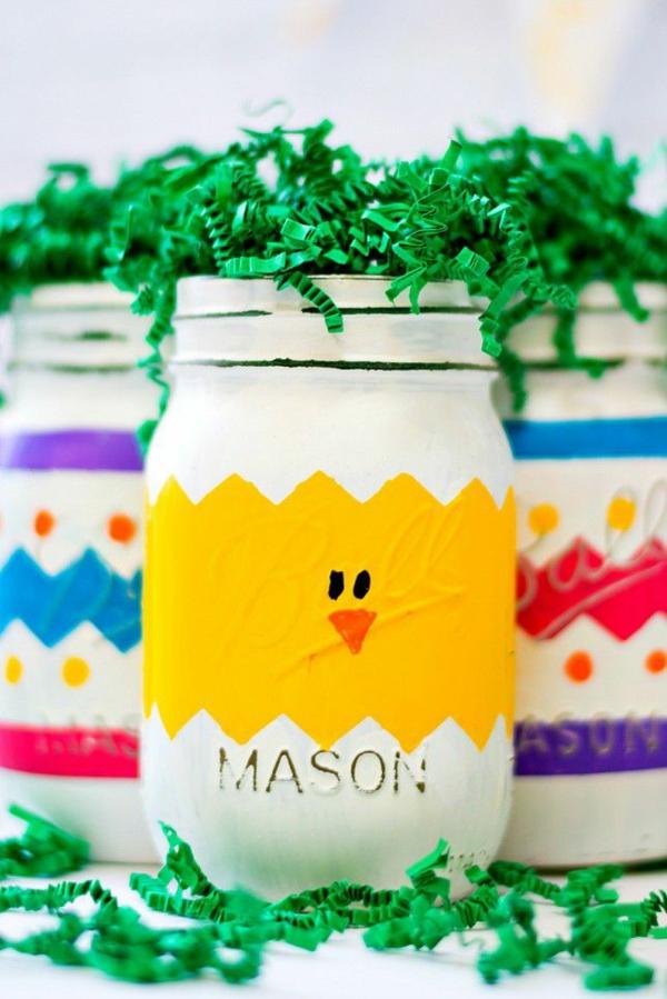 idée activité manuelle pâques diy poussin en bocal mason