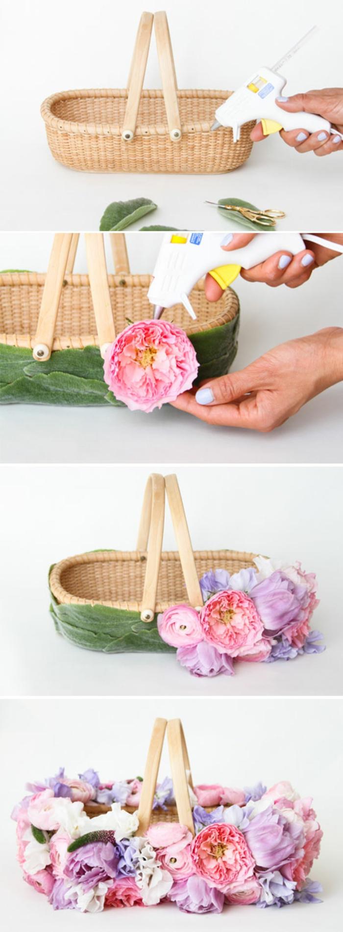 idée avec des fleurs panier de pâques diy