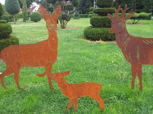 idée déco jardin métal rouillé animaux sauvages