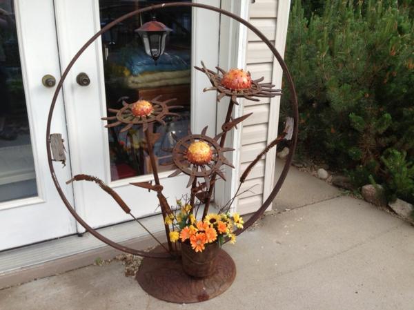 idée déco jardin métal rouillé art abstrait