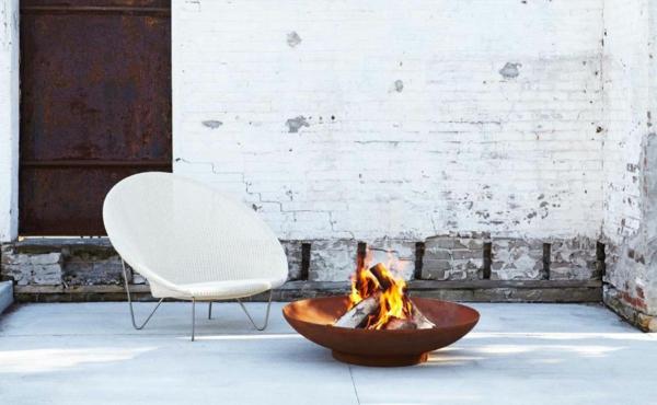 idée déco jardin métal rouillé brasero barbecue