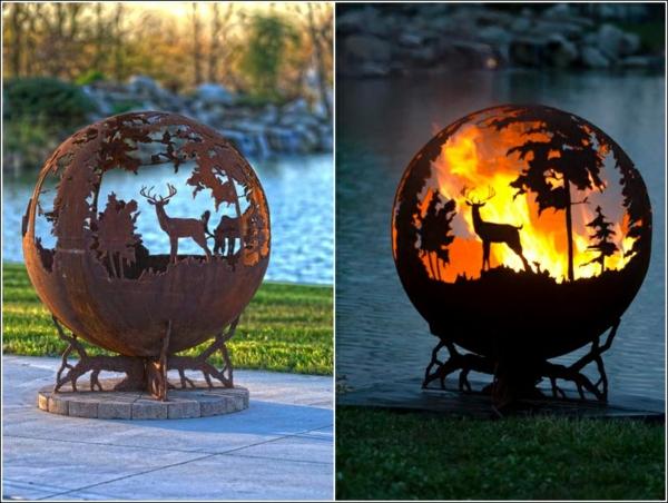 idée déco jardin métal rouillé brasero ornemental