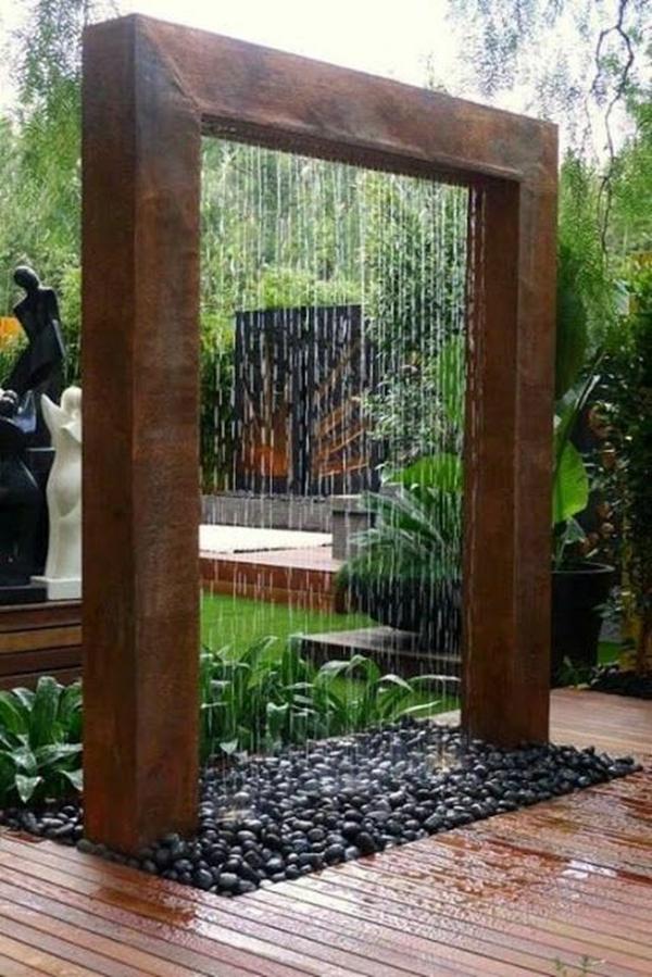 idée déco jardin métal rouillé fontaine moderne