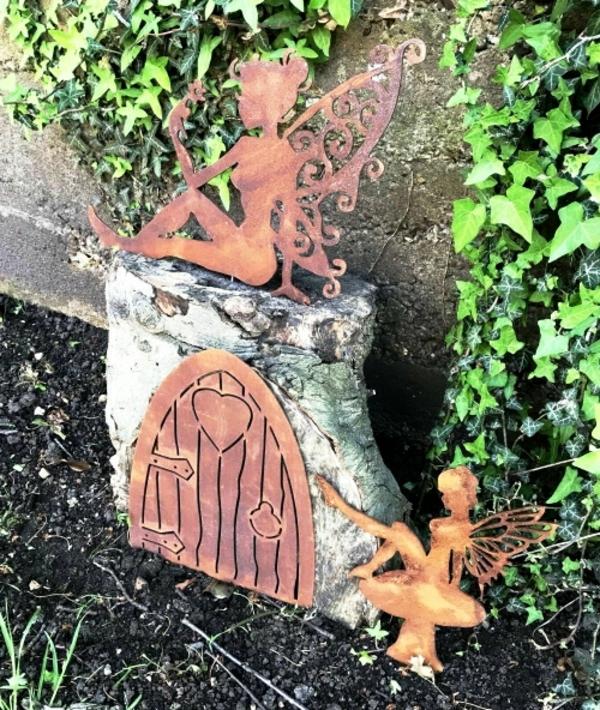 idée déco jardin métal rouillé maison de fée