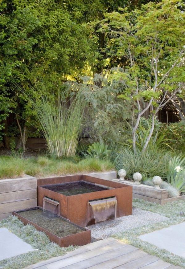 idée déco jardin métal rouillé mini bassin de jardin