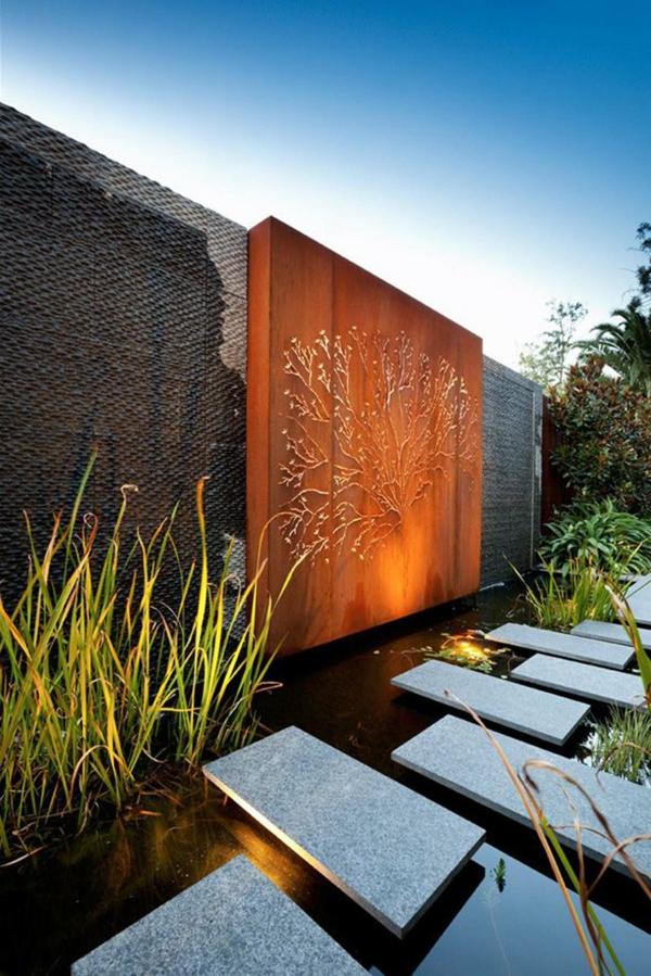 idée déco jardin métal rouillé mur décoratif acier corten