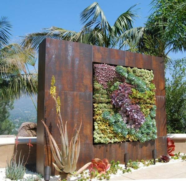 idée déco jardin métal rouillé mur végétal