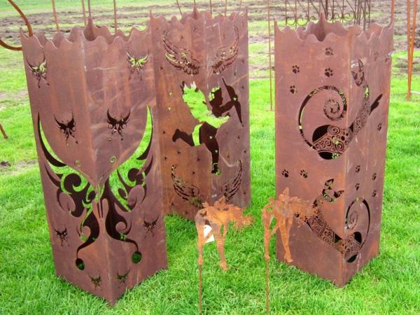 idée déco jardin métal rouillé sculpture ornementale