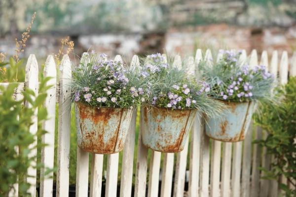 idée déco jardin métal rouillé seaux pots de plantes palissade