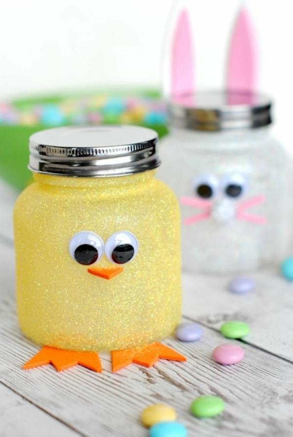 idée de bricolage pâques maternelle animaux bocaux en verre