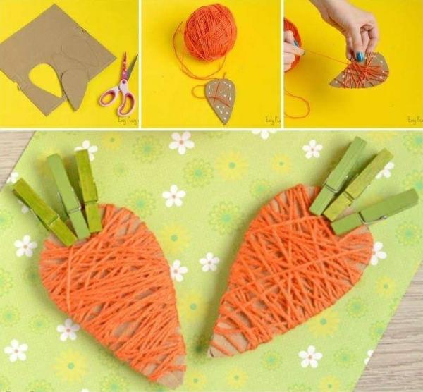 idée de bricolage pâques maternelle carotte carton fil de laine