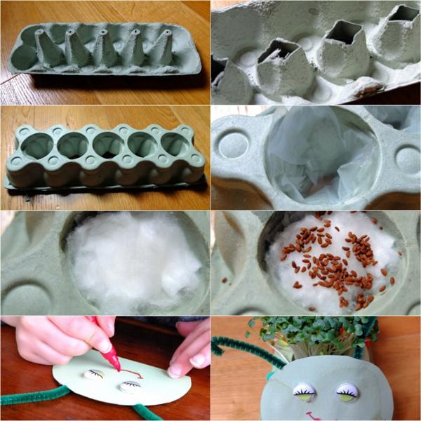idée de bricolage pâques maternelle chenille boîte d'oeufs