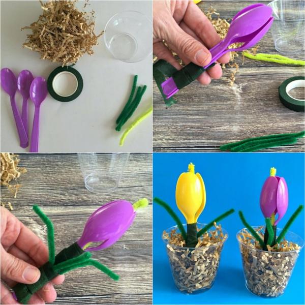 idée de bricolage pâques maternelle fleurs en cuillères de plastique