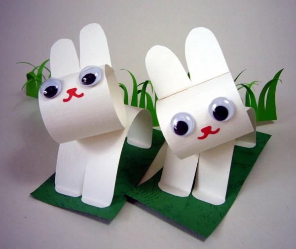idée de bricolage pâques maternelle lapin de pâques carton blanc